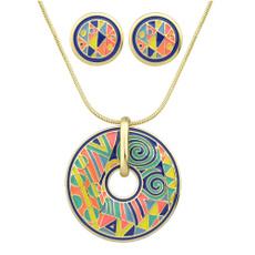 Necklace, circleearringsandnecklace, Stud, Exquisite jewelry set