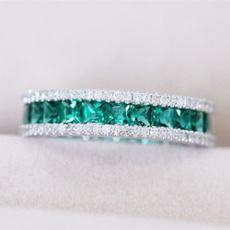DIAMOND, 925 sterling silver, emeraldring, 925 silver rings