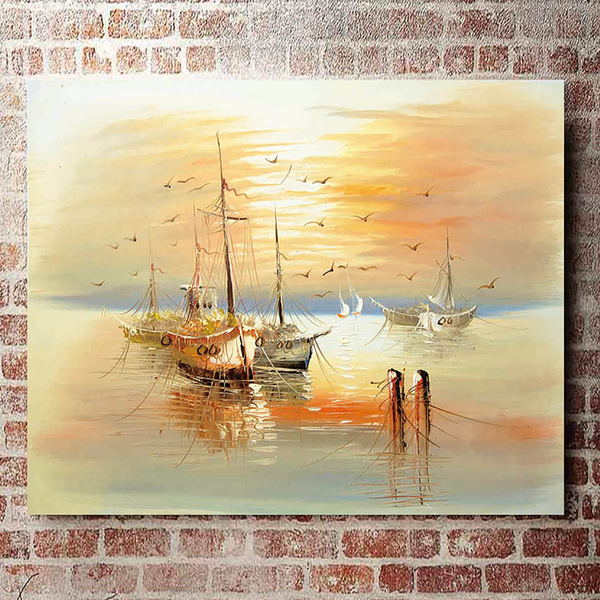 Wall Art Home Decor Modern Ship Sailing Oil painting Picture Printed on Canvas