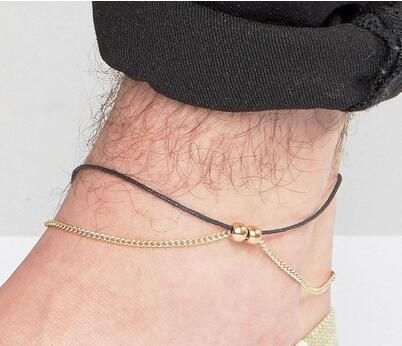 Adjustable, Anklets, Chain, leather