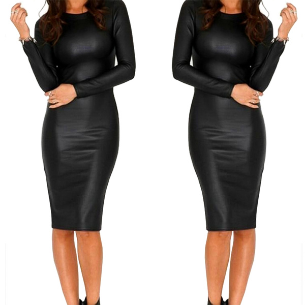 leather dress, Plus Size, Long Sleeve, Dress