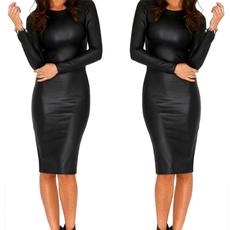 leather dress, Plus Size, Long Sleeve, Dress