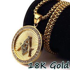 18k gold, punk necklace, Jewelry, gold