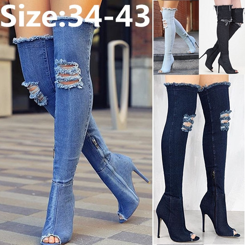 plus size open toe thigh high boots