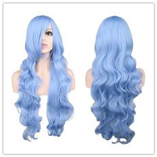wig, light blue, longwavywig, Cosplay