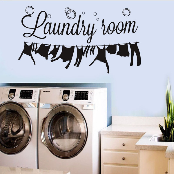 Laundry Wall Art Decal Vinyl Stickers Diy Laundry Room Decor Removable Wall Stickers 57 31cm Wish