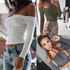 knit crop top, fashion women's clothes, off the shoulder top, sexy Women's Fashion