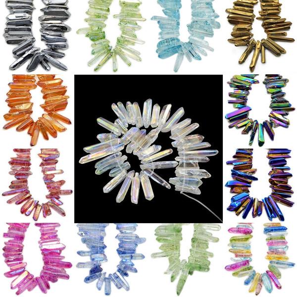 quartz, Natural, crystalbead, titanium