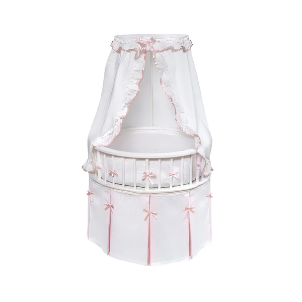 Badger Basket White Elegance Round Baby, Badger Basket Round Bassinet Bedding