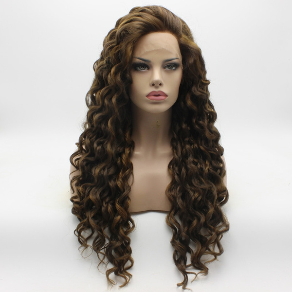 wig, Synthetic Lace Front Wigs, Lace, brown