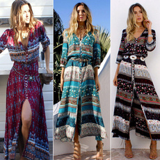 Fashion, Floral print, hippie, long dress