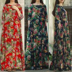 Cotton, Sleeve, long dress, kaftandresse