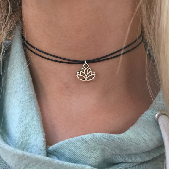 lotusflowerjewelry, blackcord, Girlfriend Gift, Flowers