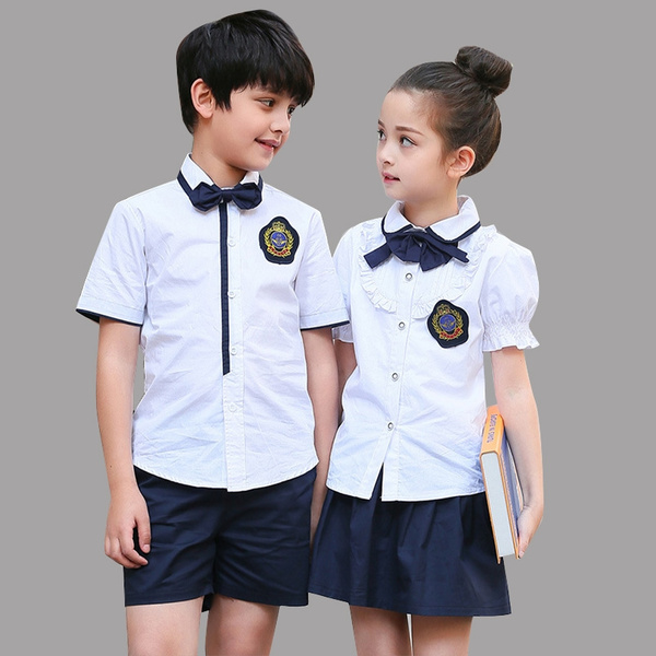 Children Clothes Sets Summer Students School Uniforms Sets Boys Shirts &  Shorts Suits Girls Tops Skirts Sets Kids Formal Outfits | Wish