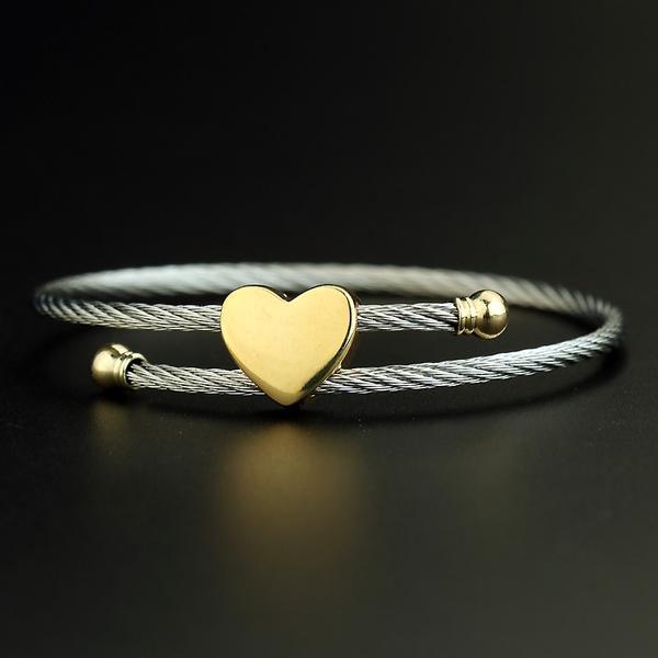 Steel, Heart, stainless steel bracelets bangle wriswatch, Jewelry