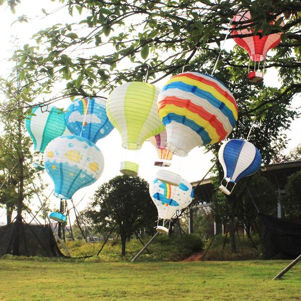 hotairballoon, rainbow, hanginglantern, birthdaydecor