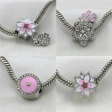 925sterlingsilvercharmsbead, Flowers, diybracelet, cheapcharmsbracelet