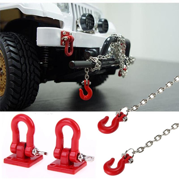 Tow Hook /& Trailer Chain Kit for Traxxas Hsp Redcat Rc4wd Tamiya Axial scx1