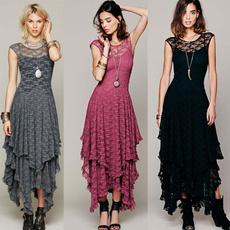 Fashion, Lace, long dress, Beach