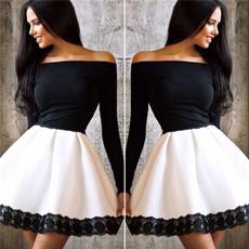 Mini, longsleeveddressstitching, Shorts, one shoulder dress