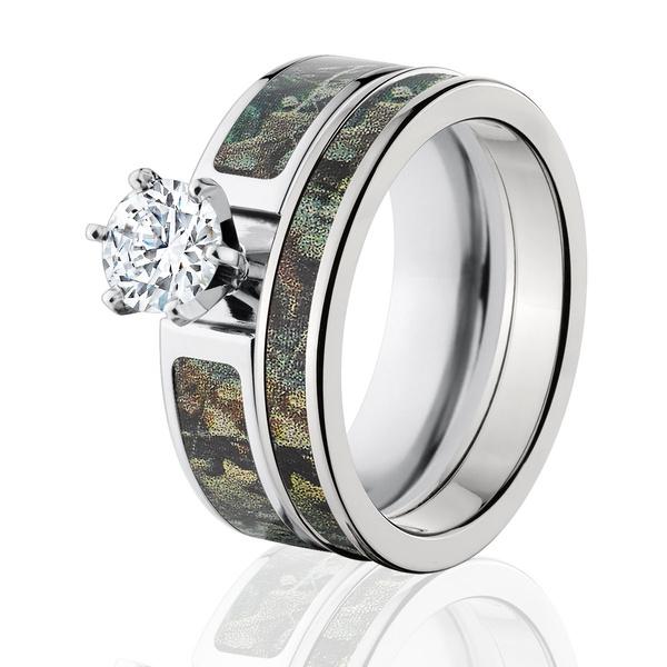 Cubic Zirconia, Engagement Wedding Ring Set, Jewelry, titanium