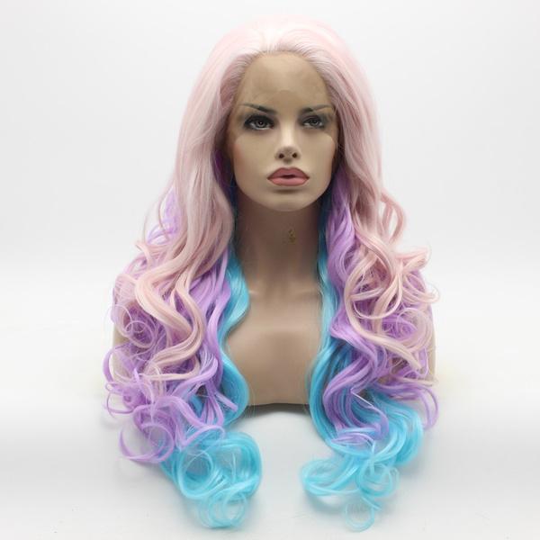wig, Synthetic Lace Front Wigs, wavylongwig, mixedcolorwig