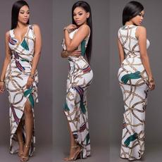 party, Fashion, Deep V-neck Dress, Dress