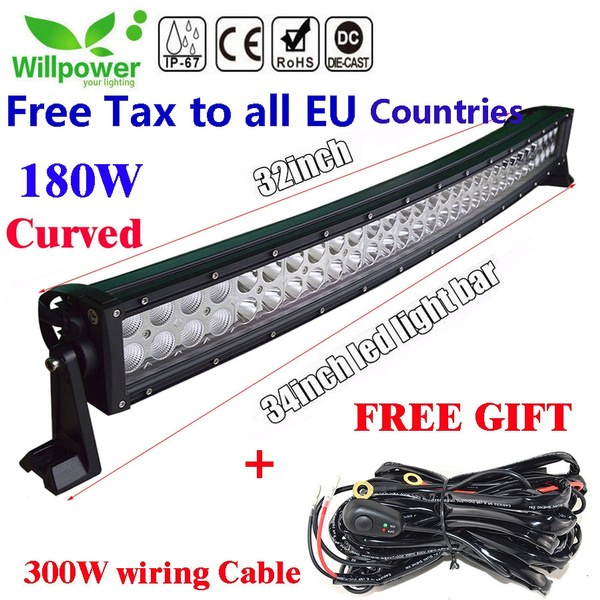 Willpower 32 Inch 180w 10 30v Curved Led Work Light Bar Ip67 Waterproof Flood Spot Combo Beam For Offroad Suv Ute Atv Truck Led Work Lights Driving Lamps And Wiring Harness And Mounts