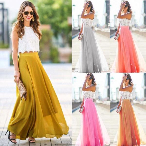 Summer, long skirt, high waist, flared