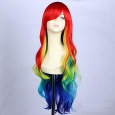 wig, rainbow, womenscapcosplaywig, Lolita fashion