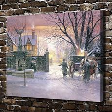 decoration, carriagewalkinthesnowscenerycity, Wall Art, horseoilpainting