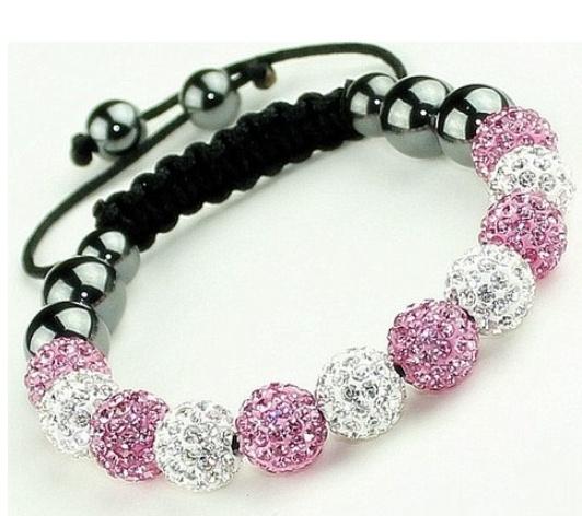 pink, Crystal Bracelet, 10mm, Gifts