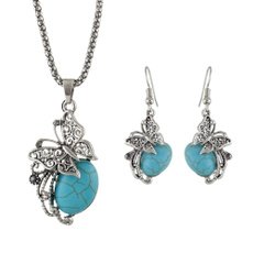 NECKLACE AND EARRING SET, butterfly, Turquoise, imitationjewelryset