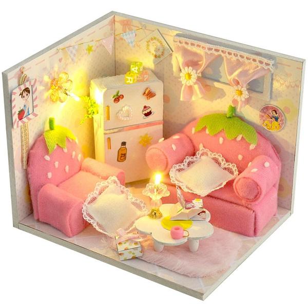 dollhouseminiaturefurniture, strawberryhouse, led, roomfurnituremodel