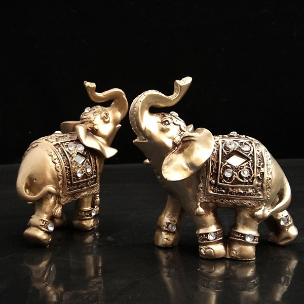 fengshuidecoration, elephantfigurine, Home Decor, goldcolor