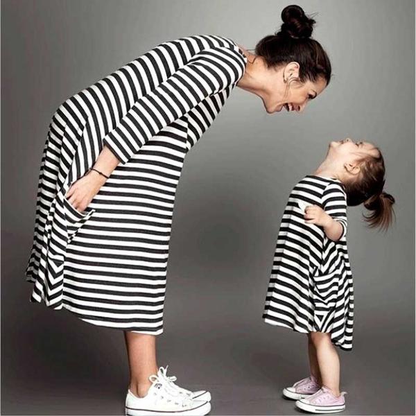 daughter, parent, Family, Dresses