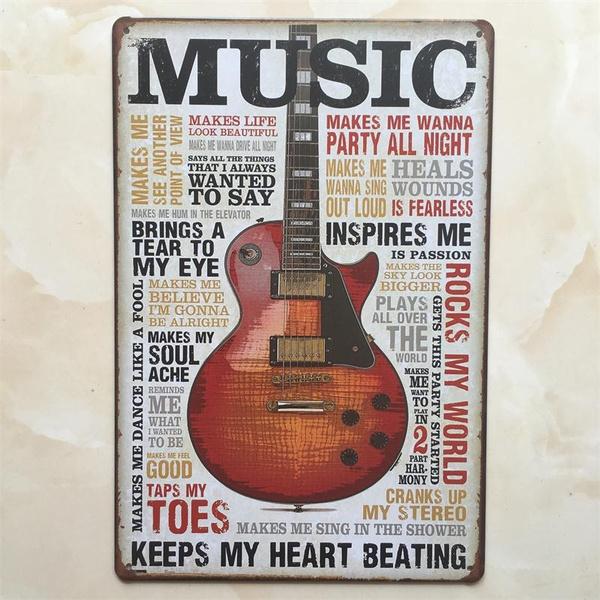 Tin Sign Bar Party guitar Painting