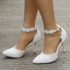 whitelacesandal, whiteweddingshoeswithflower, Womens Shoes, Tacones