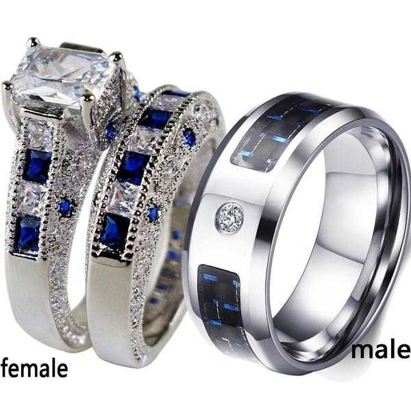 Couple Rings, mensfashionring, 18kwhitegoldplatedring, wedding ring