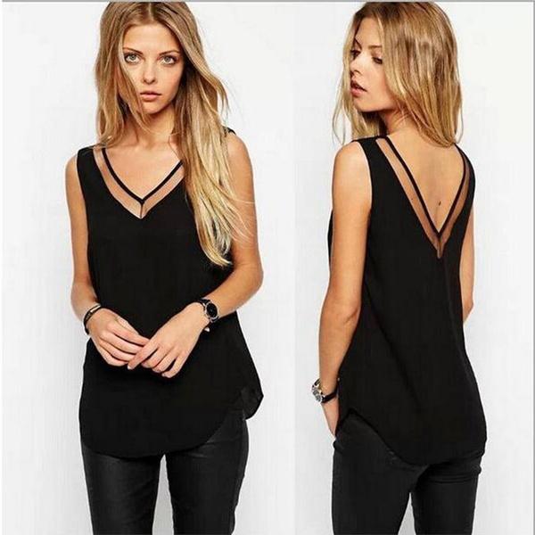 gauzeshirt, nightclub dress, Shirt, Deep V-neck Dress