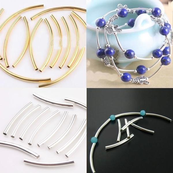 longtubebead, Jewelry, gold, curvedtubebead