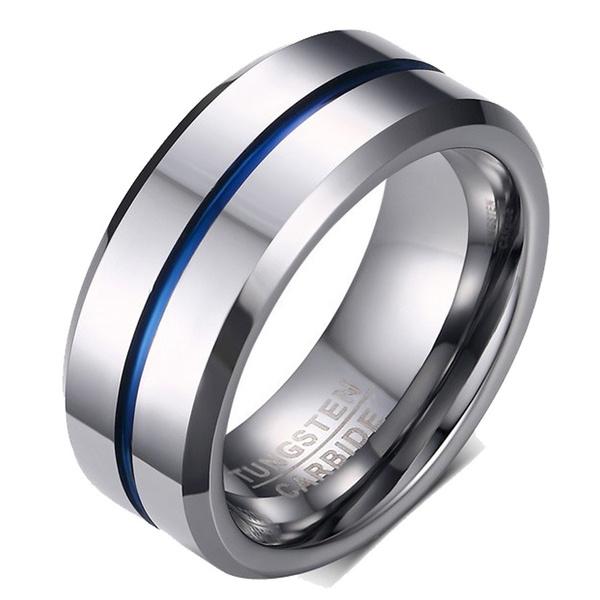 Blues, 8MM, wedding ring, Silver Ring