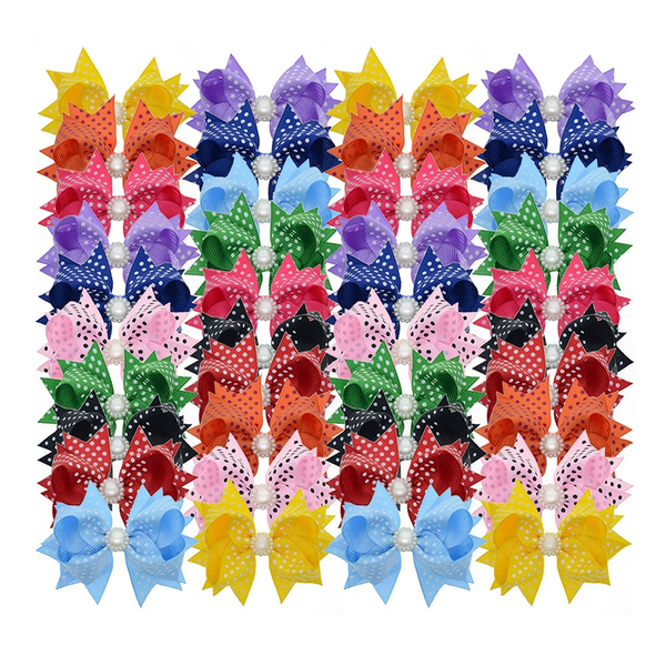 40 pcs Children Hairpins Fishtail Bow hair Clip Ribbon Alligator Clip for B *DC