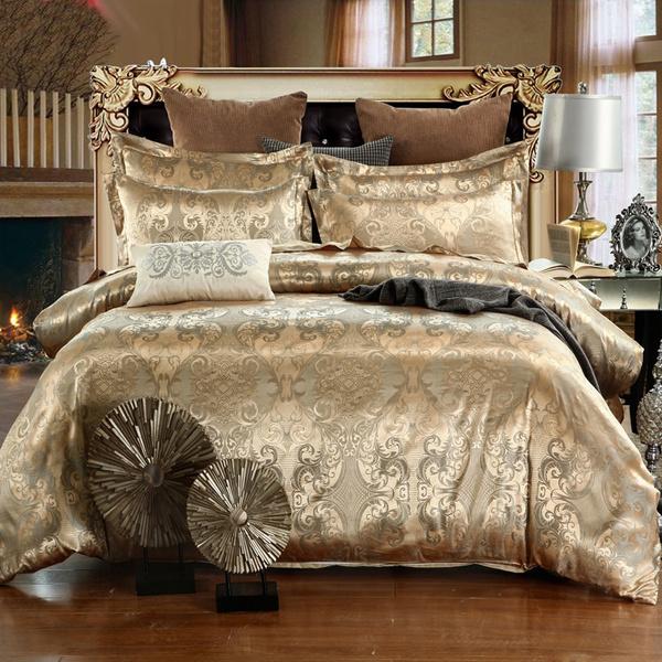 Blues, golden, jacquard, bedclothe