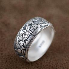990sterlingsilverring, Sterling Silver Ring, Vintage, lotusring