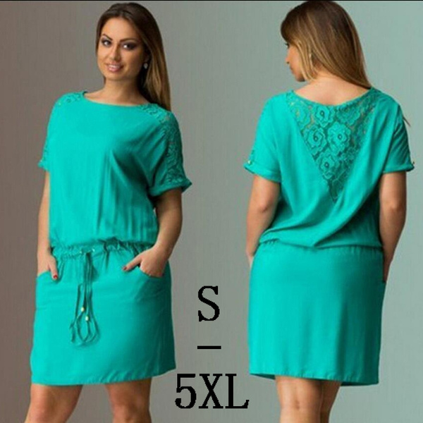 Summer, Plus Size, sleeve dress, Lace