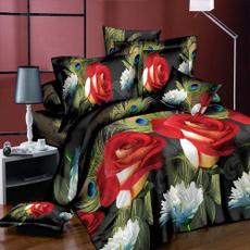 queensizebeddingset, Polyester, Flowers, peacock