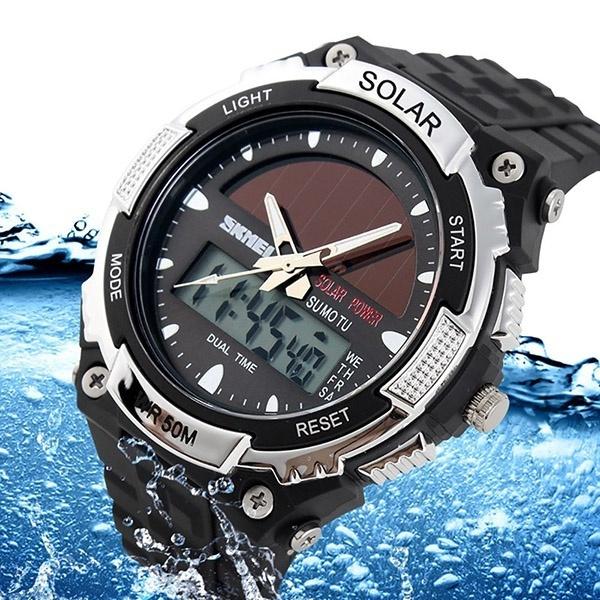 LED Watch, quartz, Solar, Waterproof