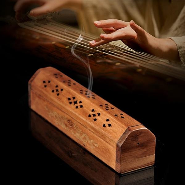 Box, Wood, Lines, incenseincenseholder