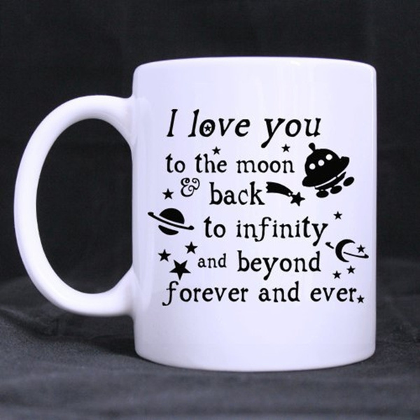 Romantic Valentine S Day Gift 11 Ounces Funny Quotes Saying Mug I Love You To The Moon And Back Theme Coffee Tea White Mugs Cup Pefect Gift For Lovers Couples